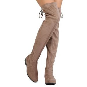 Faux Suede Thigh High Drawstring Riding Boot